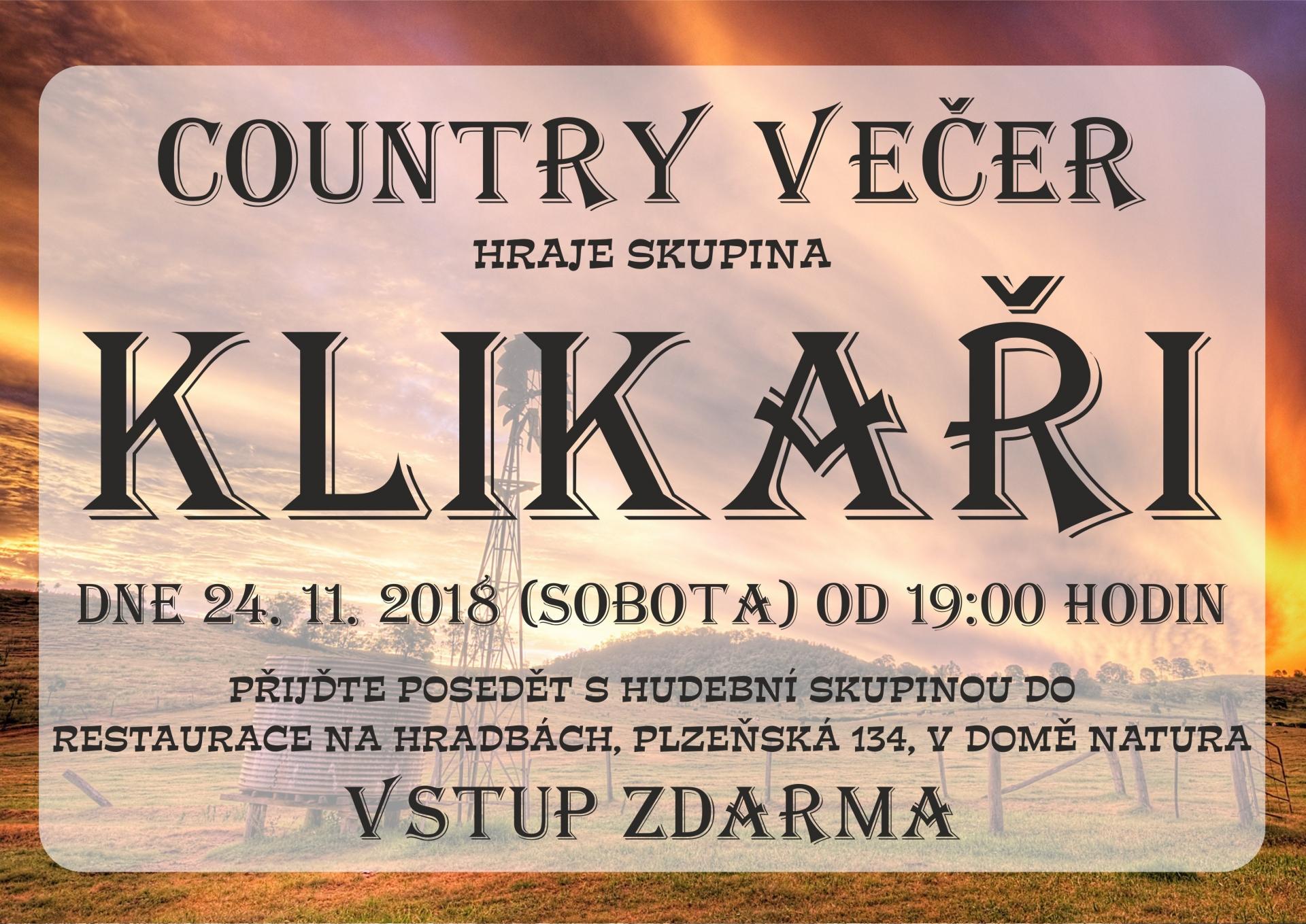 Country večer se skupinou Klikaři
